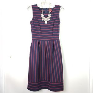 Navy & Maroon Striped A Line Career Dress